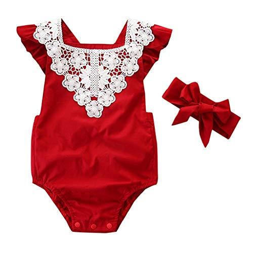 IZHH Babykleider, Kleinkind Neugeborenen Ärmellos Kinder Lace Strampler Overall + Stirnbänder Set Outfit 6-24 M Zweiteiliges Set(Rot,90) (Die Halloween-kostüme Kleine Kleinkind Meerjungfrau)