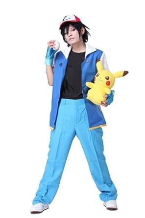 Pokemon Ash Ketchum Blau Jacke Herren Shirt Kompletter
