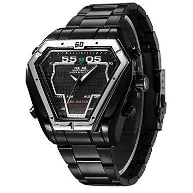 XKC-watches Herrenuhren, Weide Mens unregelmäßigen Uhr Analog-Digital-LED-Display Wasserdicht Edelstahlband Luxus-Sport-Armbanduhr (Farbe : Schwarz)