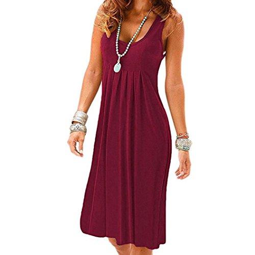 OYSOHE Women Mini Dress, Summer Solid Sleeveless Plain Pleated Casual Mini Dress Tops