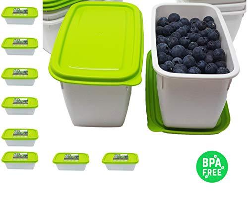 Greenline - Congelador de plástico orgánico de 1 litro, Juego de 8 recipientes para congelación con Tapa de Calidad ecológica sin BPA