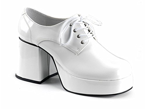Mens White Platform Shoes for 70s Disco Dress-Up. Size 11