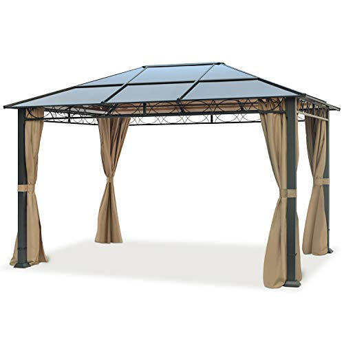 toolport garden pavilion 3x4 m waterproof alu deluxe gazebo with 4 sides party tent in brown