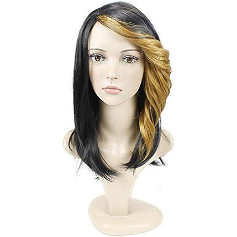 Meydlee Pelucas Moda flequillo rizado corto pelucas de pelo para las mujeres