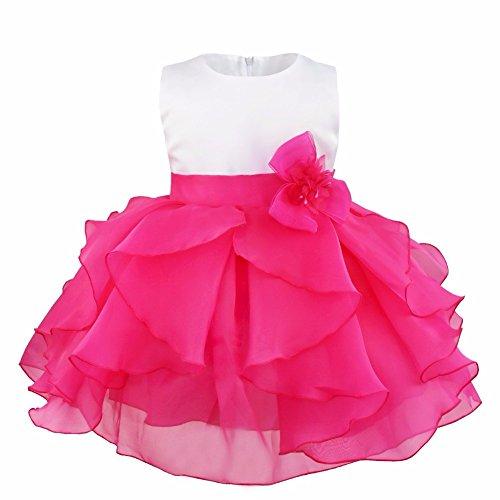 iEFiEL Vestido de Bautizo Princesa para Niñas y Bébes de Varios Colores de Organza Vestido de Fiesta Rosa Oscuro 9-12 meses