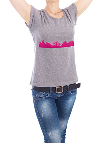 "Design T-Shirt Frauen Earth Positive ""Yokohama 04 Pink Skyline Print monochrome"" - stylisches Shirt Abstrakt Städte / Weitere Architektur von 44spaces Grau"
