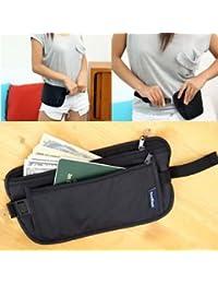 SLB Works Brand New New Black Travel Pouch Hidden Compact Security Money Passport ID Waist Belt Bags