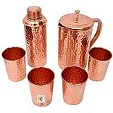 Hammered Copper Jar & Bottle With 4 Glasses