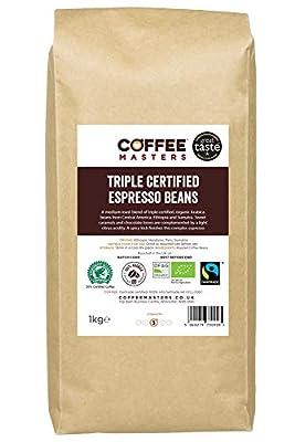 Coffee Masters Triple Certified, Organic, Fairtrade, Arabica Coffee Beans 1kg - GREAT TASTE AWARD WINNER 2018