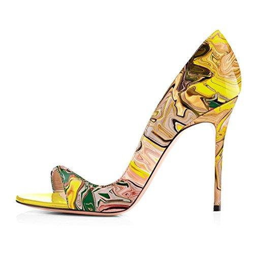 elashe Scarpe da Donna - 12CM Peep Toe Sandali - Tacco a Spillo - Classiche Scarpe Col Tacco Multicolore EU44