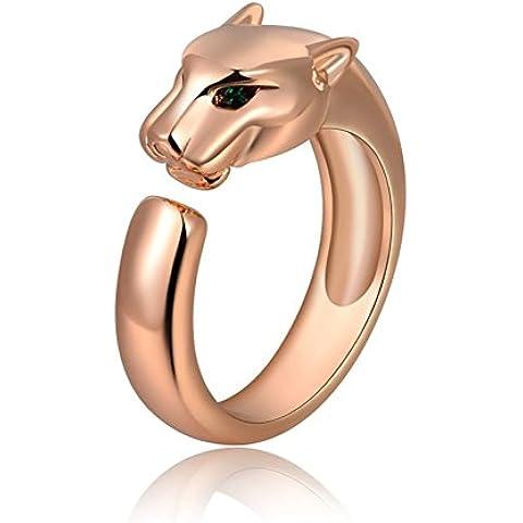 ROXI Women's Fashion, placcato in oro 14ct, Eyes Anello, motivo leopardato, colore: verde, oro rosa 14 ct, 17, cod. 1010035240