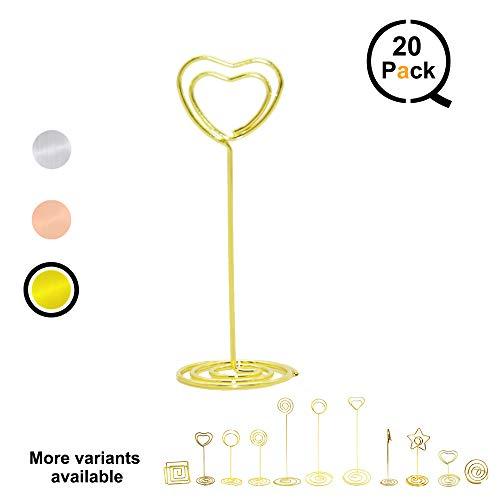 QLLY Draht Form Platzkartenhalter, Tisch Steht Name Startnummernhalter, Papier Menu Bild memo Note Foto Clip Halter Lebensmittel Schilder für Hochzeiten, Abendessen, Partys (20Stück) Gold Heart