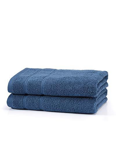 myHomery Handtuch Set bestehend aus Gästehandtücher, Duschtuch, Saunatuch und Badetuch - Saunahandtuch XXL - Handtücher Marine Blau | 2er-Set Duschtuch (Sets Handtücher-badezimmer Blaue)