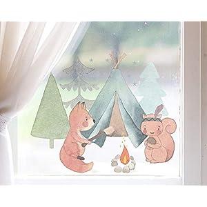 TinyFoxes Fensterbild Camping der Waldtiere – Herbstliche Kinderzimmerdeko zum Wiederverwenden