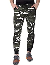 Fflirtygo Men's Cotton Army Track Pants, Army Joggers for Men, Men's Leisure Wear, Military Track Lower for Sports Gym Athletic Training Workout in Green Color
