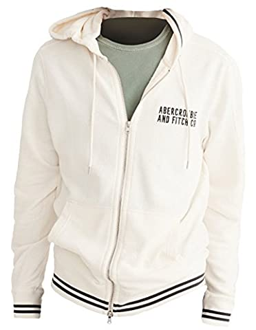 Abercrombie - Homme - Lightweight Full-Zip Hoodie Sweat à Capuche Sweatshirt Longue - Taille M - Cream (627318557)