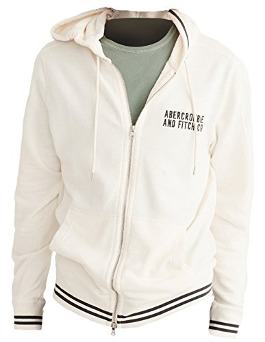 Abercrombie Herren Lightweight Full-Zip Hoodie Kapuzenpullover, Größe M, Crème (627318557)