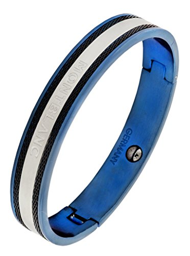 The Jewelbox German Luxury Designer Blue Black 316L Surgical Stainless Steel Kada Bangle Bracelet For Men  available at amazon for Rs.1161