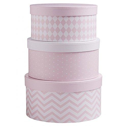 Kids Concept 6032 Pappboxen rund 3-Set Barnkammaren rosa