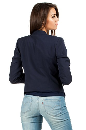 MOE Elegante Jacke Jackett Sakko mit Reißverschluss Marineblau
