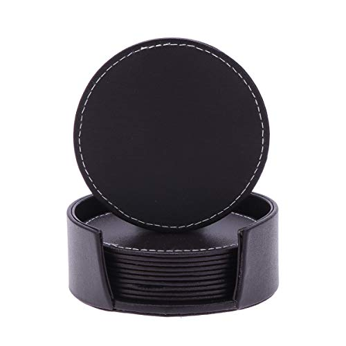 Runde Leder Coaster (Garneck Leder Untersetzer mit Halter Set Runde Wärmedämmung Cup Matten für Getränke (6 Stück Kaffee Farbe Runde Coaster +1 Halter))
