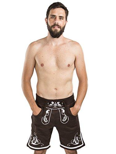 Herren Adam Jogging Lederhose - Jogginghose Sporthose bestickt - Trachtenhose Oktoberfest - Schöneberger Fitness Trachtenlederhose (L, Schwarz)