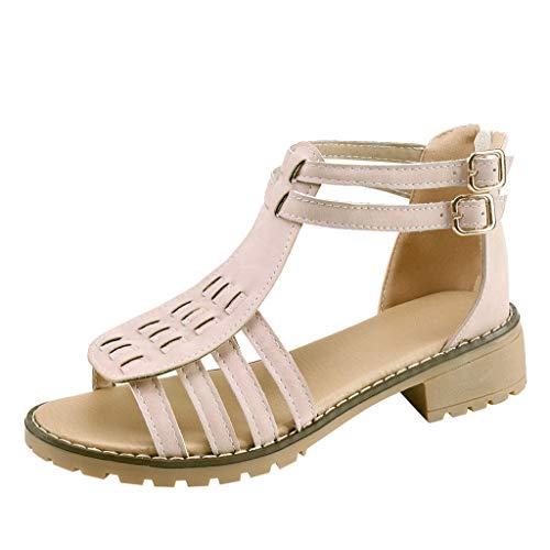 ZIYOU Frauen Sandalen Bohemian High Heel Sandalen Casual Römischen Sandalen mit Reißverschluss(Rosa,35 ()