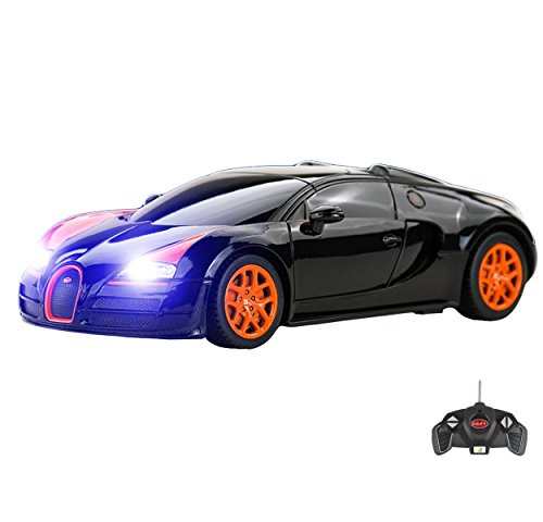 Bugatti Veyron Remote Control Car for Kids � Working Lights � PL9129 Electric Radio Controlled Bugatti Veyron 16.4 Grand Sport Vitesse RC Car � Official Licensed 1:18 Model � RTR, EP Black 40Mhz
