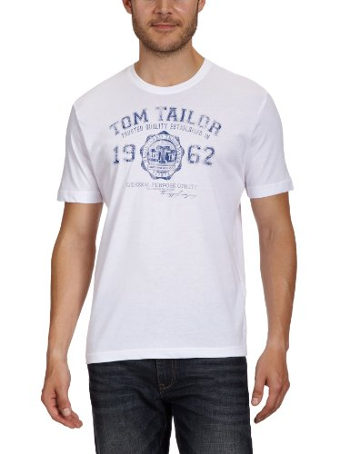 TOM TAILOR Herren T-Shirt Logo Tee, Weiß (White 2000), M