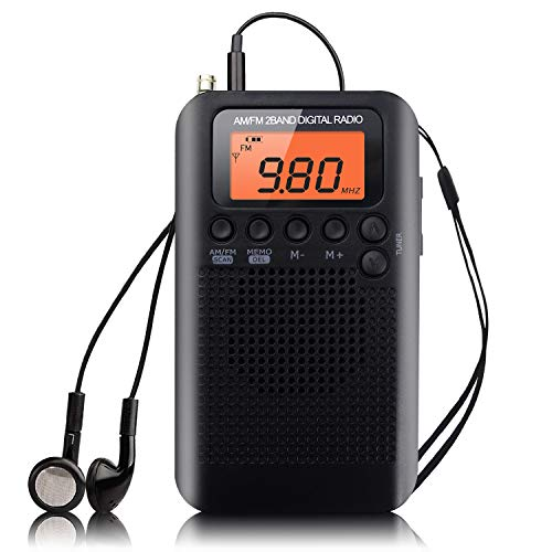 Portable Radio Small Mini Pocket Radio Am FM Stereo Digital Tuning Radio with Sound Speaker Alarm Clock and Ear Timer (Black-NV)