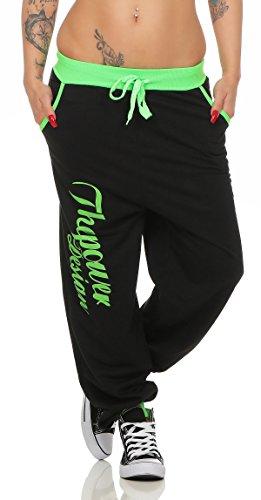 Boxusa Damen Jogginghose Thepower Design Fitnesshose Freizeithose Sporthose (XXL, Power Schwarz Grün) (Damen Anzug Design)