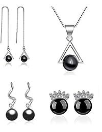 4c9e0f885f4a Juego de Joyas - colgante de collar y conjunto de 3 pendientes de perla de  imitación