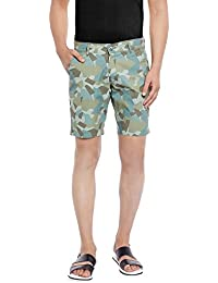 Canary London Olive Printed Narrow Fit Shorts