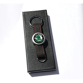 jmtrading Skoda Luxus Leder und Metall Schlüssel Ring und Geschenkbox für Fabia Octavia Superb VRS