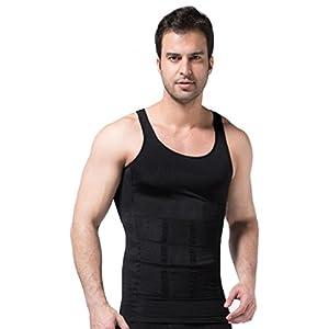 ZEROBODYS Männer T-Shirt ärmellose elastischen figurformende Weste bauch-weg-shirt Schwarz Ssy-1