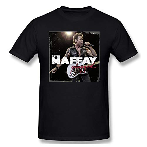 Liteschi Herren Peter Maffay 1 Baumwolle T-Shirts Black 5XL Mit Herren-Kurzarm