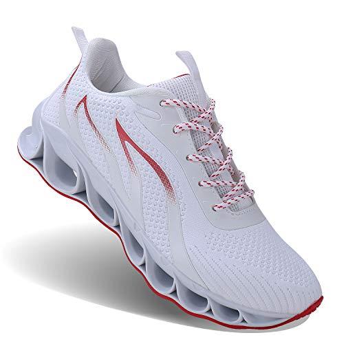 JSLEAP Laufende Schuhe der Männer, die athletische Mode-Tennisblatt-Turnschuhe Laufen Lassen Größe 47 Weiß