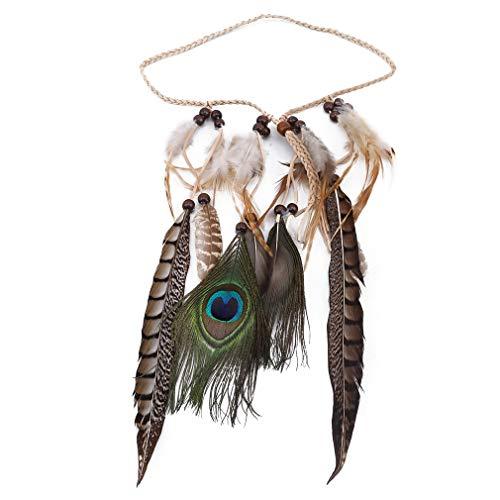 ZNMUCgs Vintage Tribal Feder Stirnband Hippie Kopfschmuck Boho Hippie Perlen Maskerade Kostüm Haarschmuck