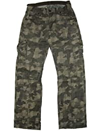 Herren Hose Reissverschluss Baggy mit Taschen Kariert Tarn Jeans Camouflage