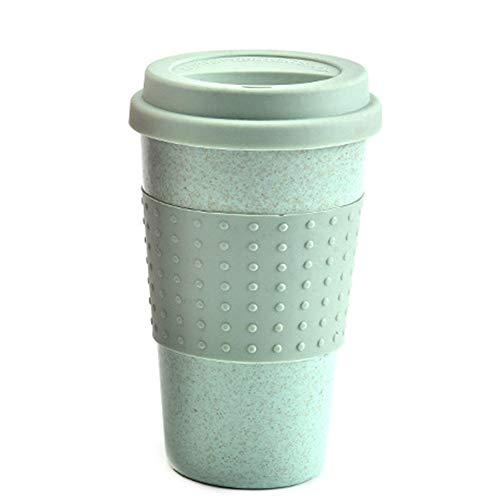 Majome Taza de Paja de Trigo con Tapa de Silicona Taza de té de café portátil para casa Oficina de Viajes en Coche
