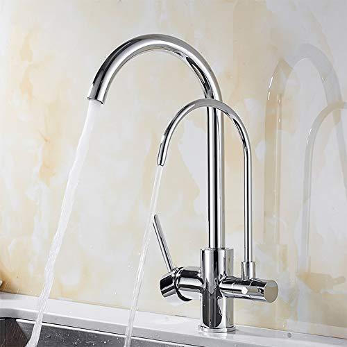 Filter KüChe Wasserhahn Mit Gereinigtes Wasser Merkmale 360 Rotation Dual Griffe KüChe Armatur,Chrome -