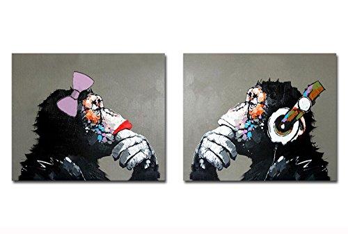 Fokenzary - óleo sobre lienzo pintado a mano, diseño de dos gorilas, uno escuchando música Pop, para amantes de la pintura, decoración de la pared, enmarcado y listo para colgar, lona, 20x24inx2pcs