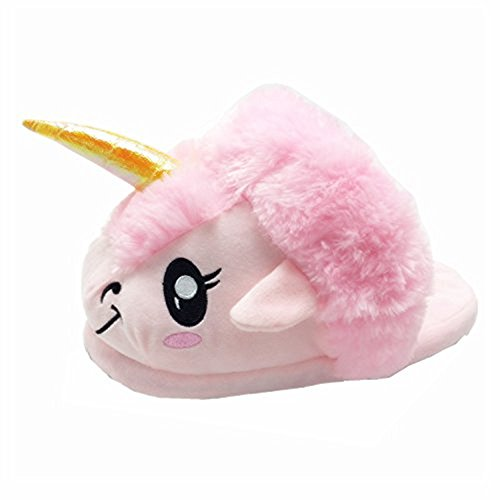 Rainbow Fox Fantasy Unicorn Soft Plush Slippers Slip On Adult Compatible With European Size: 37-42 (pink)