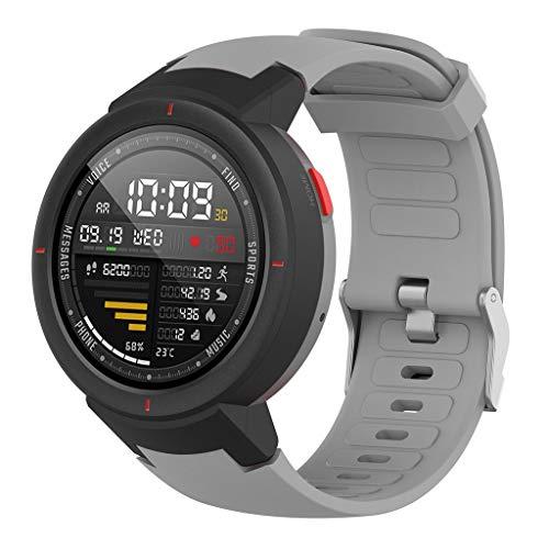 Upxiang Silikon Armband Kompatibel für Huami Amazfit Verge mit Schutzhülle Schutzfolie Uhrenarmband Smartwatch Ersatzarmbänder Verstellbare Wrist Band Strap