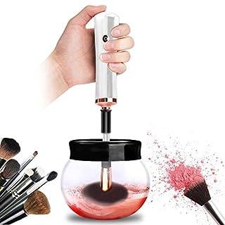 Make-up Pinselreiniger Elektrisch Make-up Pinsel Reiniger und Trockner Set, Elektrische Instant Make-up Pinsel Reinigung maschine mit 8 Gummihalter Anzug, Makeup Brush Cleaner (Weiß)