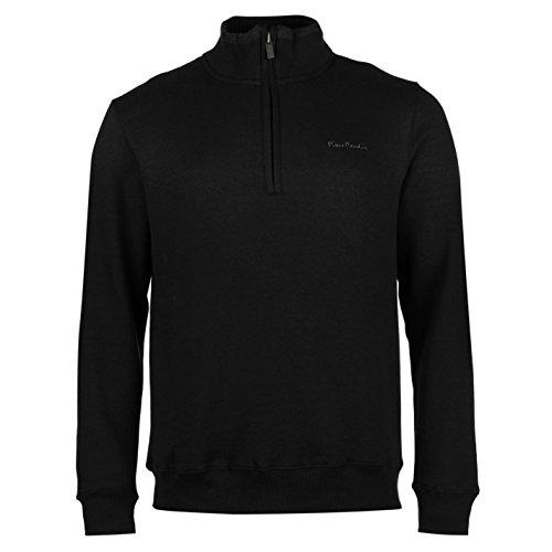 pierre-cardin-herren-1-4-zip-sweatshirt-langarm-stehkragen-pullover-sweater-schwarz-large