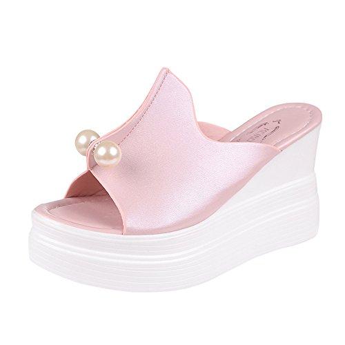 MakefortuneFrauen Hausschuhe Dicker Boden Solide Perle Wasserdicht Keil Sandalen Hausschuhe Damenmode Lässig Peep Toe Schuhe Mode String Perlen Sandalen