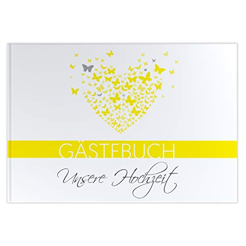 Gästebuch mit Fragen Butterflyheart Hochzeitsalbum Hochzeitsbuch Hochzeitsfeier gelb