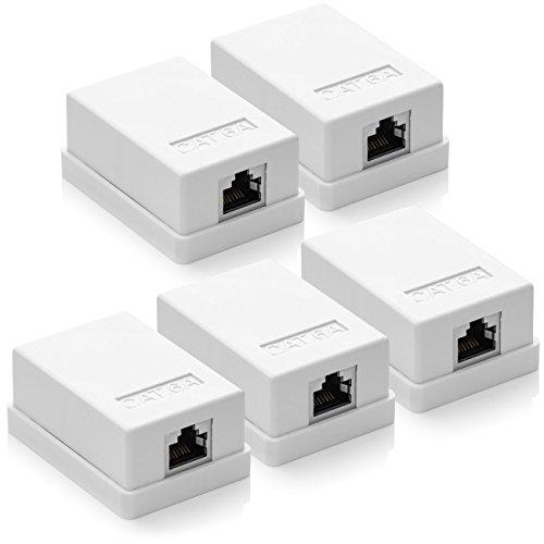 deleyCON 5X Prise Réseau Cat 6a 1x Prise RJ45 FTP Blindé Montage Mural Ethernet 10 Gbit LAN Câble de Brassage Câble D'installation - Blanc