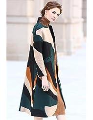 YRF Manteau de laine d'hiver. Mince couche rayé. Trench-Coat long manches longues. Manteau de laine dames